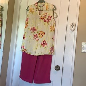 Tropical Tommy Bahama Camp Shirt Crop Pant Outfit